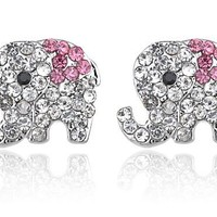 Alilang Silver Tone Clear Crystal Colored Rhinestones Baby Elephant Stud Earrings