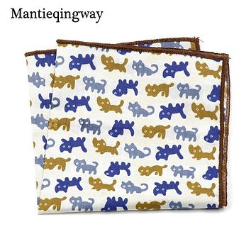 Mens Cotton Fish Printed Handkerchief For Wedding Tuxedo Floral Pocket Square Hanky For Mens Suits Chest Towel