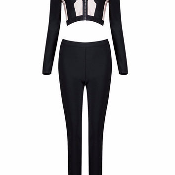 Black & White Color Block Bandage Pants Suit