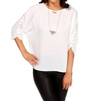 White Sleeve Embellished Blouse
