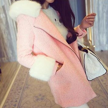 Pink Patchwork Pockets Fur Collar Long Sleeve Wool Coat