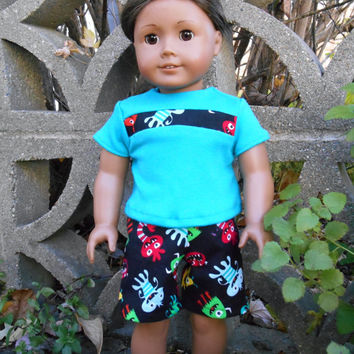18 Inch Doll, Boy Doll Clothes, Shorts Set, Monsters Shorts, Boardshorts, with Aqua T Shirt, fits Dolls Such as American Girl Boy Dolls