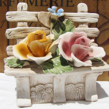 Vintage Capodimonte Roses Flowers on Bench Floral Decor