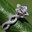 READY To SHIP - Unique Flower Lotus Rose Diamond Engagement or Right Hand Ring - 1.75 carats - 14k white, fL03