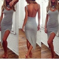 New 2016 Fashion women summer dress sexy Gray Backless party dress Irregular Mini solid color club dress