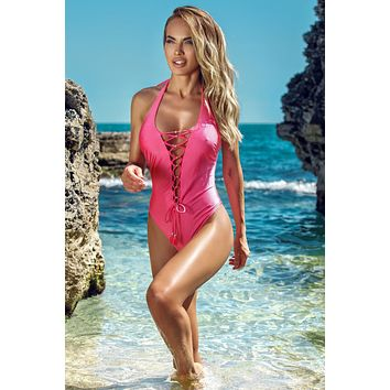 Jolidon Clandestine Hot Pink Chrissy Lace-Up Front Open Back One Piece Swimwear Swimsuit