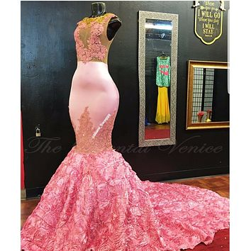 African Pink Mermaid Evening Dress Gold Lace Appliques 3D Rose Flower Flora Long Prom Dresses for Black Girls Women Party Gowns