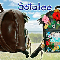 Floral Handmade Leather Backpack, Women's Backpack, Genuine Leather Backpack, Travel Backpack, School Backpack, Medium Size. In Stock! BP55