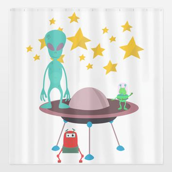 aliens Shower Curtain by haroulita on BoomBoomPrints