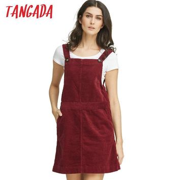 Tangada Korean Fashion Autumn 2016 Women Elegant Pockets Suspender Skirt Corduroy Sleeveless Overalls Skirts Female NRB125