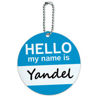 Yandel Hello My Name Is Round ID Card Luggage Tag