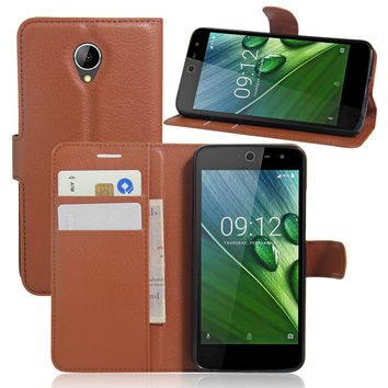 Luxury PU Leather Cover Case For Acer Liquid Zest 4G Z528 Z525 Case Flip Protective Phone Shell Back Cover Skin Bag With Gift