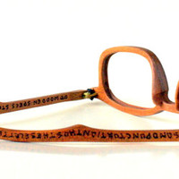 Wood Eyeglass Frame--'College' Style in Cherry Wood with Wood-Burned Lettering Serial No. 154