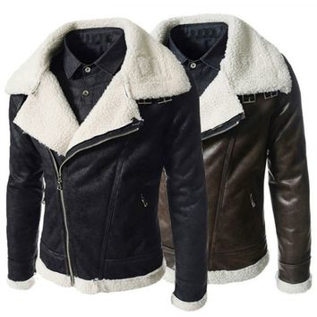 High Quality Mens Winter Fashion Lapel PU Leather Jacket Warm Fur Liner Coat Slim Overcoat Oblique Zipper Outwear M-XXXL