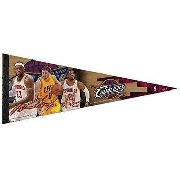 "LEBRON JAMES LOVE KYRIE IRVING CLEVELAND CAVALIERS PENNANT 12""x30"" WINCRAFT"