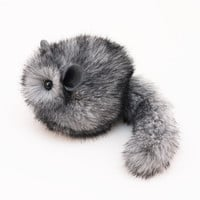 Fluffy Light Grey Chinchilla Stuffed Animal Plush Toy - 4x5 Inches Small Size
