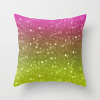 Pink And Yellow Glimmer Throw Pillow by KCavender Designs