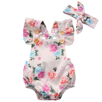 Flower Headband 2pcs Cute Summer Clothing Baby Girl Sunsuit Set Adorable Clothes Floral Bodysuit Cute Baby Girls