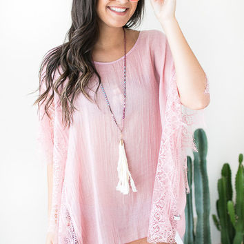 Into the Water Lace Cover Up - Pink