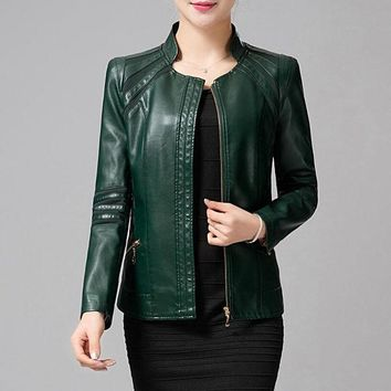 DCCKL3Z Mother Clothing Autumn Winter Leather Women Army Green Spliced Plus Leather Jacket Women Long Sleeve Fashion Female Clothing