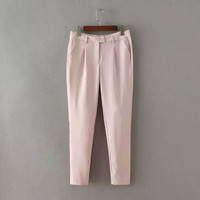 OC29 Women Pants Fashion 2015 office lady sexy Pink Elegant Vintage Pocket office formal Trousers Zipper Casual brand designer