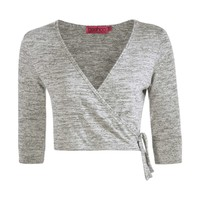 Bella Knitted Tie Wrap Over Crop Top