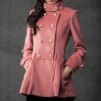 Pink coat double-breasted jacket for women C532