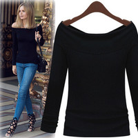 Fashion Women's Shirt Sexy Slit Neckline Basic Shirt Two Ways For Clothes Strapless Long-sleeve T-shirt