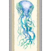 Watercolor Jellyfish Panel I (Framed)