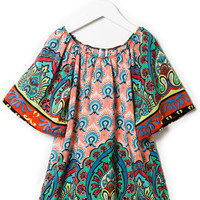 UNIQUE PATTERN OFF SHOULDER DRESS GIRLS