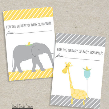 Printable Baby Shower Book Label or Sticker. Baby book party. Baby's Library. Elephant sticker. Giraffe Sticker.