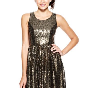 Allover Sequin Bow-Back Dress - Bronze