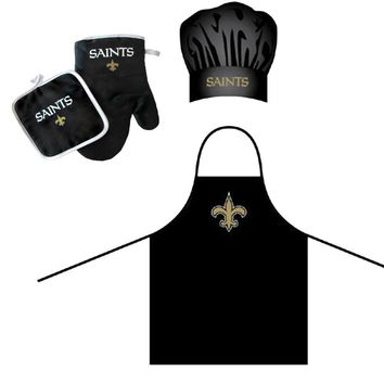 New Orleans Saints NFL Barbeque Apron, Chef's Hat and Pot Holder Deluxe Set