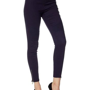 Moto Pants with Zipper on  Bottom, Navy