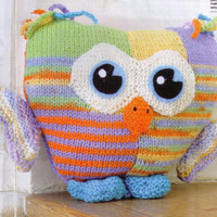 PATCHY BRIgHT OLLIe THe OWL HoOT HoOT ANImAL-CHIldrENS Cuddly Soft Toy-Adorable- 25 Cm's Tall- 8 Ply - Knitting PDF Instant DOWNLOaD Pattern