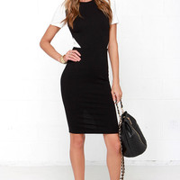 Exact Elegance Ivory and Black Bodycon Midi Dress