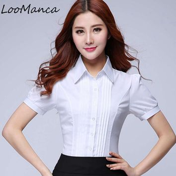 Plus Suze 4XL 5XL Summer Women Shirt New short sleeve ol elegant tops and blouses white chiffon shirts office work wear
