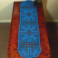 Turquoise N Silver Arrows Table Runner - Filet Crochet Art - Decorative Arrow Art - Coffee Table Runner - Table Top Decor - Southwestern