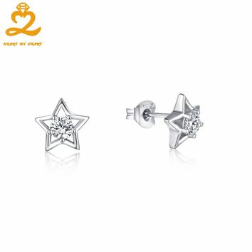 HeartByHeart Simple Statement Earring for Women Natural Topaz Wedding Earrings 925 Sterling Silver Star Stud Earrings Jewelry