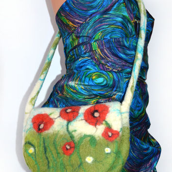 Lovely Bag. Tote bag, Felted Bag with Poppies Flowers, Handbag, nature, purse, felt, art handmade, Nunofelt, Nuno, Wool, small, medium