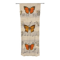 "Suzanne Carter ""Butterfly Opera"" Music Tan Decorative Sheer Curtain"