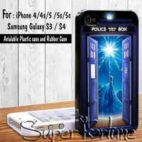 Disney Frozen Elsa And Anna Castle On Tardis Dr Who for iPhone 4/4s/5/5s/5c, Samsung Galaxy S3/S4 Case