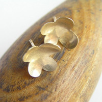Gold Earrings  Flower Petals  Concave Flower by DaliaShamirJewelry