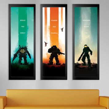 LIMITED Video Game Inspired Poster Series - Bioshock, Titanfall, Halo
