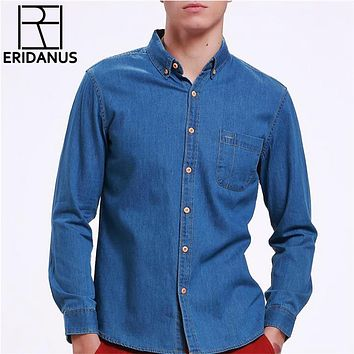 Fashion Jeans Shirt Long Sleeve Solid Casual Slim Fit Washed Denim Man Shirts Social Cotton Cowboy Clothes