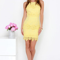 Worth It Yellow Backless Lace Dress