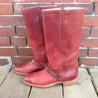 FRYE Red Riding Boots Oxblood leather sz 7 by DreamingTreeVintage