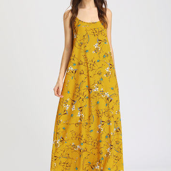 Yellow Floral Print Double Scoop Cami Strap Maxi Dress