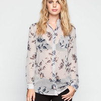 Lottie & Holly Floral Print Womens Chiffon Shirt Grey Combo  In Sizes