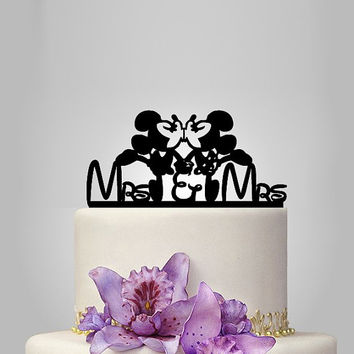Minnie and Minnie mouse Wedding cake topper, mrs and mrs wedding cake topper, lesbian wedding cke topper, female disney wedding cake topper